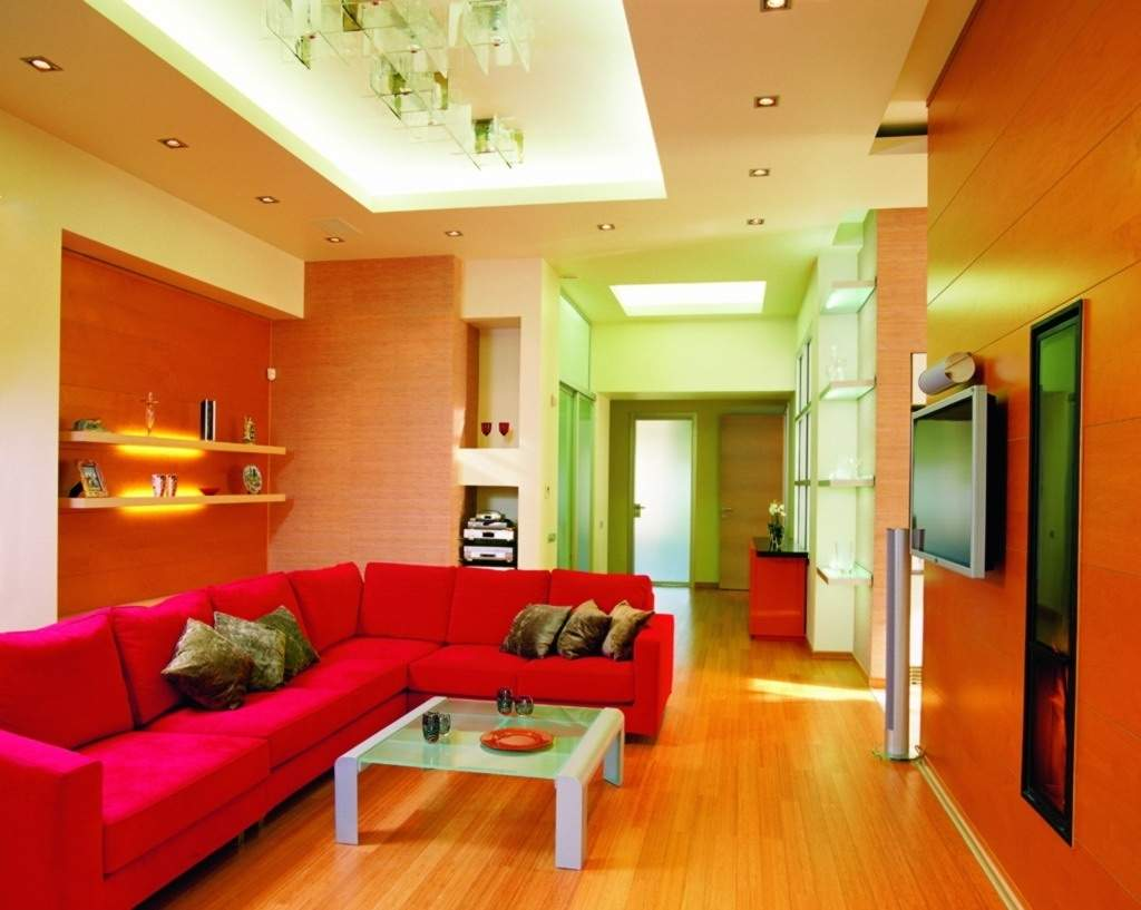 Top contractor for paint polish pop wood work wood for Living room interior bangalore