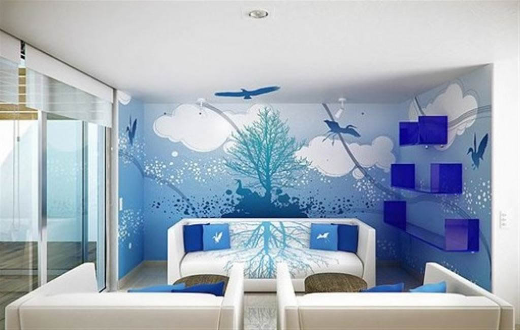 need repair work paint plumber electrician wood work 20947 | wall painting sky blue theme living room designs gurgaon delhi interiors